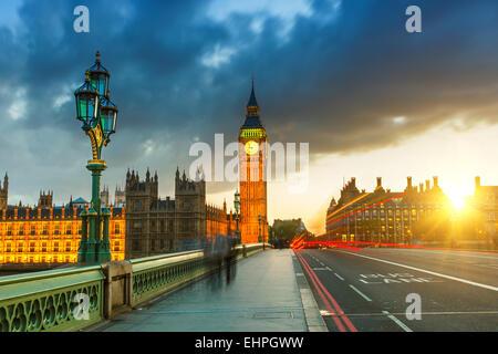 Big Ben at sunset, London - Stock Photo