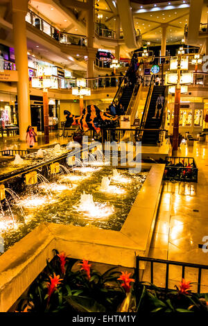 Fountains inside The Gallery, in Baltimore, Maryland. - Stock Photo