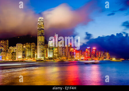 Hong Kong, China downtown city skyline at Vitoria Harbor. - Stock Photo