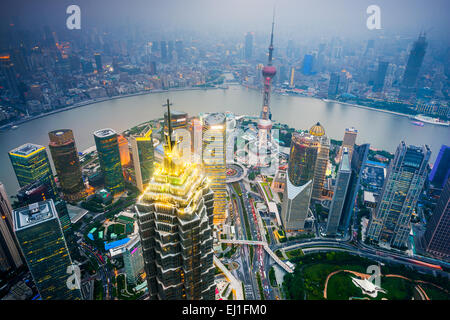 Shanghai, China cityscape over the financial district. - Stock Photo