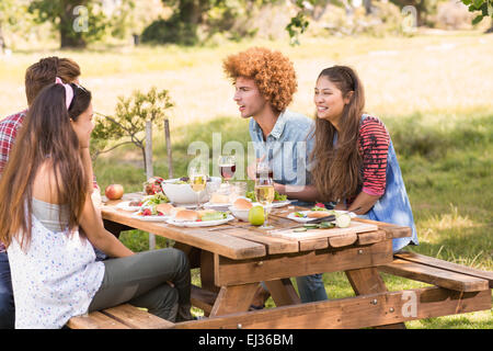 Happy friends in the park having barbecue - Stock Photo