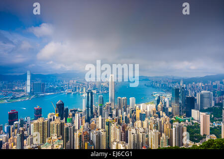 Hong Kong, China cityscape from Victoria Peak. - Stock Photo