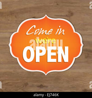 Vintage Orange Open Sign - Stock Photo