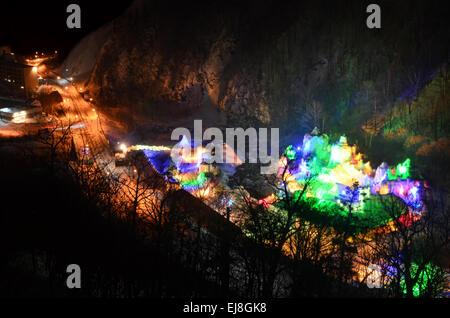 Sounkyo Ice Festival from Taisetsu Hotel Window View - Stock Photo