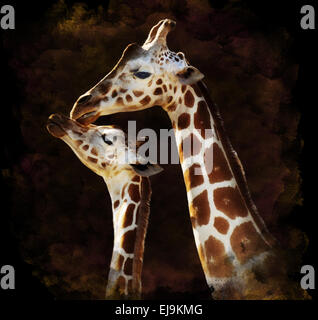 Watercolor Image Of Giraffes - Stock Photo