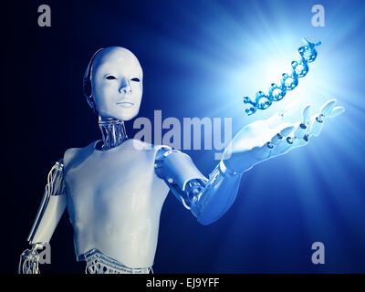 A futuristic android extending a hand with a DNA strand - Stock Photo