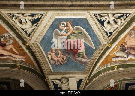 Leda and the Swan. Fresco by Baldassarre Peruzzi at the Loggia of Galatea in the Villa Farnesina in Rome, Italy. - Stock Photo