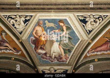 Rape of Europa. Fresco by Baldassarre Peruzzi at the Loggia of Galatea in the Villa Farnesina in Rome, Italy. The - Stock Photo