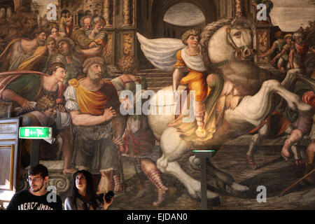 Alexander the Great tames Bucephalus. Fresco by unknown artist at the Alexander Room in the Villa Farnesina in Rome, - Stockfoto