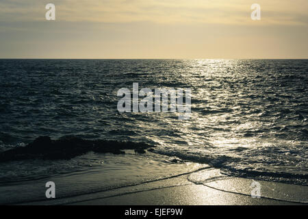 Waves in the Pacific Ocean, seen from Table Rock Beach in Laguna Beach, California. - Stock Photo
