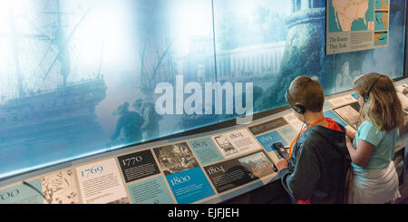 Children in a museum, Ellis Island, Jersey City, New York State, USA - Stock Photo