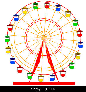 Silhouette atraktsion colorful ferris wheel. Vector  illustratio - Stock Photo