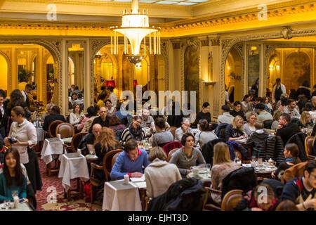 Inside Angelina's restaurant, Paris, France - Stock Photo