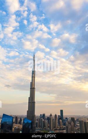 Burj Khalifa Dubai, a Futuristic Modern Design Structure, completed in 2010, the worlds tallest building - Stock Photo