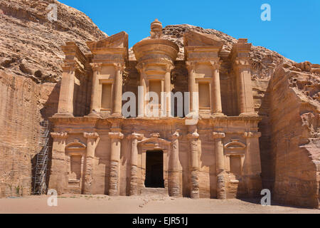 The al-Dayr tomb or monastery part of the Petra complex in Jordan - Stock Photo