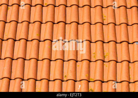 Background from red old roof tiles - Stock Photo
