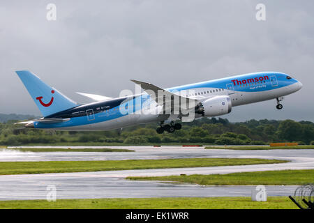 Thomson Airways Boeing 787-8 rotates away from runway 23R at Manchester airport. - Stock Photo