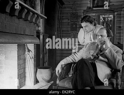 Moscow region. Writer Alexei Tolstoy and his wife Lyudmila. - Stock Photo