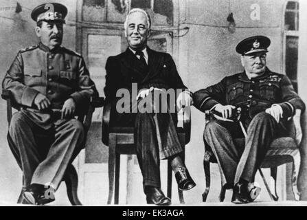L-R Joseph Stalin, Franklin D.Roosevelt and Winston Churchill seen during summit of Soviet, American and British - Stock Photo