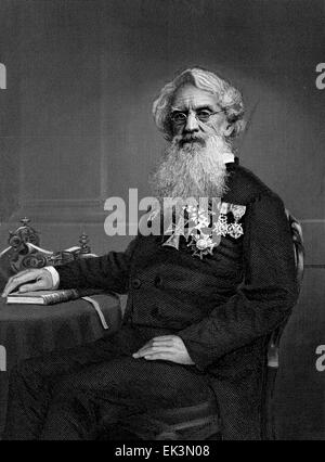 Samuel F.B. Morse, Inventor of the Telegraph, Engraved from Portrait by Alonzo Chappel, circa 1860's - Stock Photo
