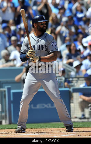 Los Angeles, CA, USA. 6th Apr, 2015. San Diego Padres left fielder Matt Kemp #27 at bat during the Major League - Stock Photo