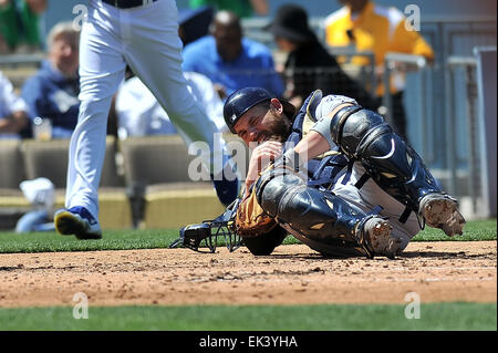 Los Angeles, CA, USA. 6th Apr, 2015. San Diego Padres catcher Derek Norris #3 is hit by a broken bat during the - Stock Photo