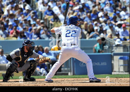 Los Angeles, CA, USA. 6th Apr, 2015. Los Angeles Dodgers starting pitcher Clayton Kershaw #22 at bat during the - Stock Photo