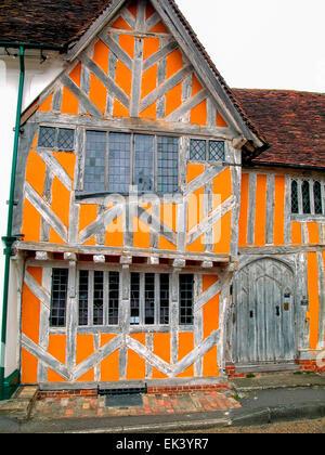 Little Hall Market Place 14th Century Buiding Suffolk Lavenham England Europe - Stock Photo