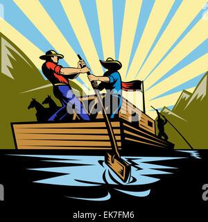 Cowboy man steering flatboat along river - Stock Photo