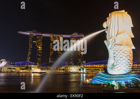 Marina Bay Sands hotel and Merlion statue. Singapore, Asia. - Stock Photo