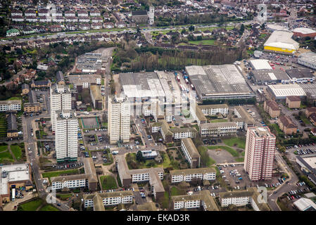 Aerial view of London near Heathrow airport, England - Stock Photo