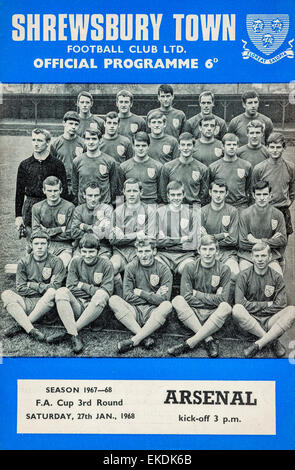 Shrewsbury Town v Arsenal football programme. 27th January 1968 - Stock Photo