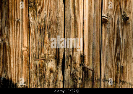 Old planks with rusty metal nails in - Stockfoto