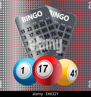 Bingo Balls with Metallic Bingo Cards - Stock Photo