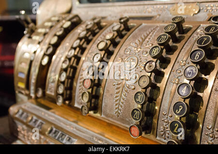 Number keys on an antique cash register at the Seal Cove Auto Museum, Maine. - Stock Photo