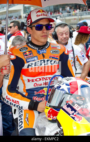 April 12, 2015: Marc Marquez #93 with Repsol Honda Team takes first Stock Photo, Royalty Free ...