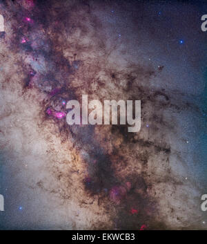 A mosaic of the region around the centre of the Milky Way in Sagittarius and Scorpius. The view takes in the Milky - Stockfoto