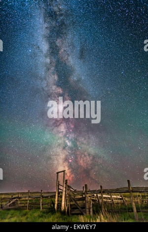 August 26, 2014 - The Milky Way over the old corral at the site of the 76 Ranch in the Frenchman Valley in Grasslands - Stock Photo