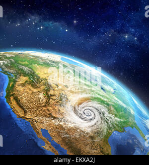 Map of the usa on earth in the national colors 3d stock for 3d map of outer space