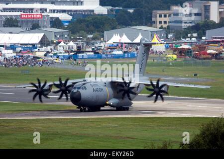 Airbus A400M Atlas military transport aircraft at Farnborough International Airshow 2014, UK - Stock Photo