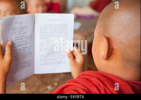 Burma, Shan State, Junior monk reading a book; Lashio - Stock Photo