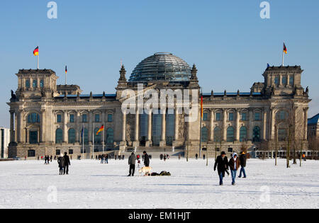 FEBRUARY 2012 - BERLIN: the Reichstags building during wintertime in Berlin. - Stock Photo