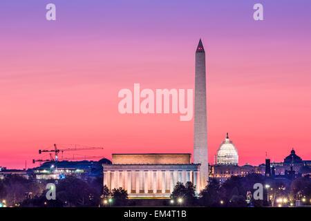 Washington, DC monument skyline. - Stock Photo