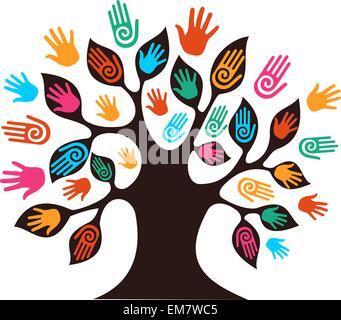 Isolated diversity tree hands - Stock Photo