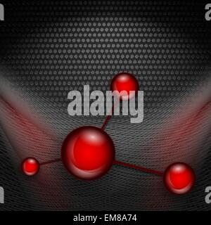 metallic vector background with glossy balls - Stock Photo