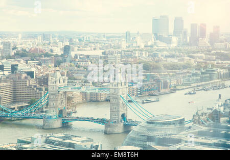 High angled view of Tower Bridge and Thames river, London, UK - Stock Photo