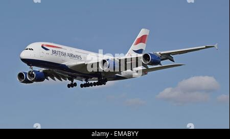 British Airways Airbus A380 (G-XLEF) landing at London Heathrow Airport, England. - Stock Photo