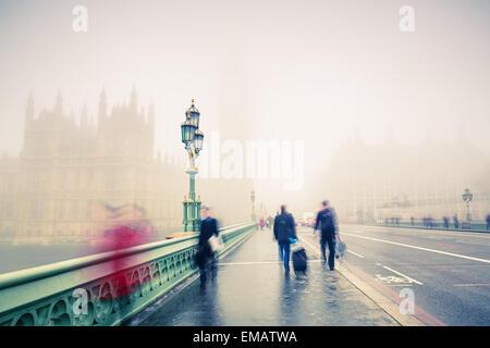 Westminster bridge in London - Stock Photo