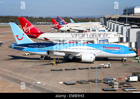 Thomson Airways Boeing 787-8 prepares for boarding at Manchester airport. - Stock Photo