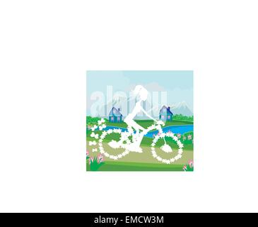 Abstract card with girl riding a bike - Stock Photo